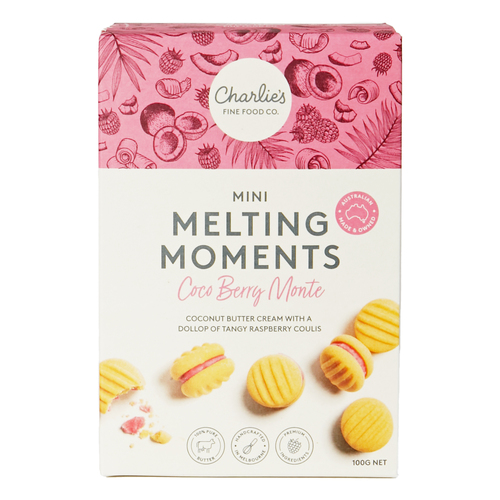 CHARLIE'S MINI MELTING MOMENTS COCO BERRY MONTE CARLO 100G