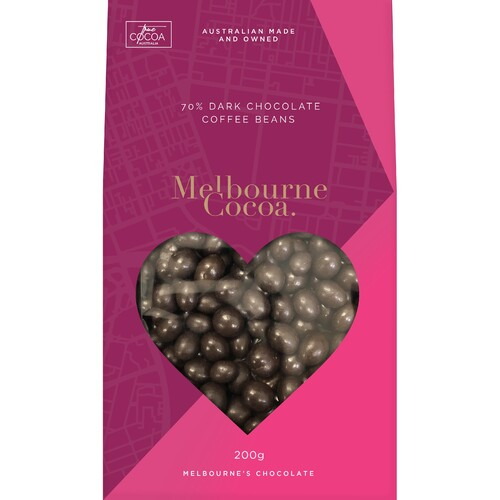 MELBOURNE COCOA 70% DARK CHOCOLATE COFFEE BEANS PINK - 200G